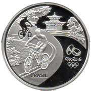 5 Reais (Olympic Games Rio 2016 - Cycling / Beach-Butterfly) – obverse