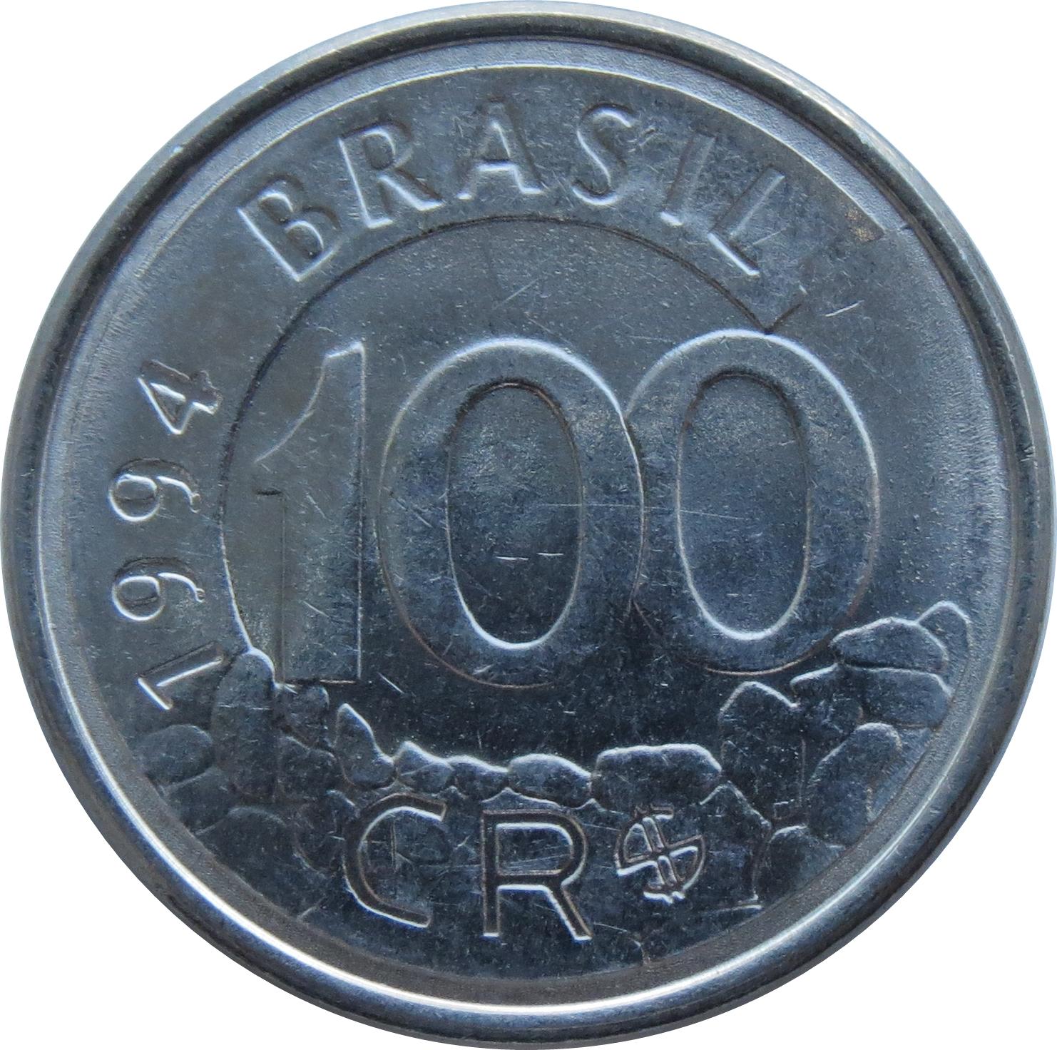 P-238 Brazil 100 Cruzeiros on 100000 Banknote Original ND 1993 UNC