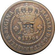 80 Réis - Maria I (Countermark on 40 Réis) – obverse