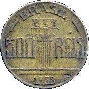 500 Réis (Regente Feijó, thick planchet) – reverse