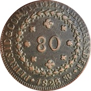 80 Réis - Pedro I – obverse