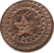 20 Réis - Pedro II (Countermarked 40 Réis with star CEARÁ) – reverse