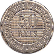 50 Réis - Pedro II – reverse