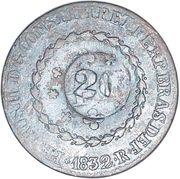 20 Réis - Pedro II (Countermarked 40 Réis, KM# 378) – obverse