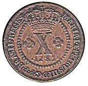 10 Réis - Maria I & Pedro III – obverse
