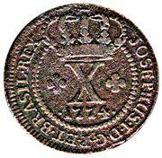10 Réis - José I (Lisbon Mint) – obverse