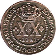 20 Réis - Maria I & Pedro III – obverse