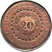 20 Réis - Pedro I (Countermarked 40 Réis) -  obverse