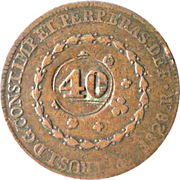 40 Réis - Pedro I (Countermarked 80 Réis) -  obverse