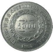 1000 Réis - Pedro II – obverse