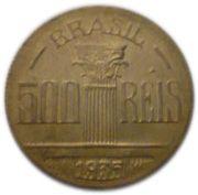 500 Réis (Regente Feijó, thin planchet, wide rim) – reverse
