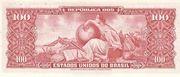 100 Cruzeiros (1st edition; 2nd print; Valor Recebido) -  reverse