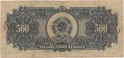 500 Cruzeiros (overprint on 500 Mil Réis i.e. P# 92) -  reverse
