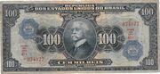 100 Cruzeiros (overprint on 100 Mil Réis i.e. P# 70) – obverse