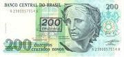 200 Cruzeiros (3rd edition; overprint on 200 Cruzados Novos i.e. P# 221) – obverse