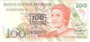 100 Cruzeiros (3rd edition; overprint on 100 Cruzados Novos i.e. P# 220) – obverse
