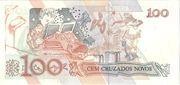 100 Cruzeiros (3rd edition; overprint on 100 Cruzados Novos i.e. P# 220) – reverse