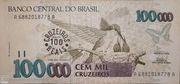 100 Cruzeiros Reais (overprint on 100 000 Cruzeiros i.e. P# 235) – obverse