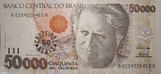 50 Cruzeiros Reais (overprint on 50 000 Cruzeiros i.e. P# 234) – obverse