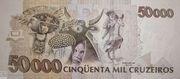50 Cruzeiros Reais (overprint on 50 000 Cruzeiros i.e. P# 234) – reverse