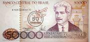 50 Cruzados (overprint on 50 000 Cruzeiros i.e. P# 204) – obverse
