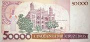 50 Cruzados (overprint on 50 000 Cruzeiros i.e. P# 204) – reverse