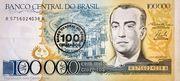 100 Cruzados (overprint on 100 000 Cruzeiros i.e. P# 205) – obverse