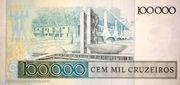 100 Cruzados (overprint on 100 000 Cruzeiros i.e. P# 205) -  reverse