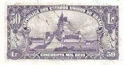 50 Cruzeiros (overprint on 50 Mil Réis i.e. P# 59) -  reverse