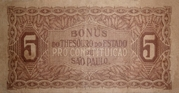 5 Mil Réis (1932 Revolution Bonus; 1st print) -  reverse