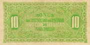10 Mil Réis (1932 Revolution Bonus; 1st print) -  reverse