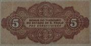 5 Mil Réis (1932 Revolution Bonus; 2nd print) – reverse
