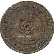 20 Réis - Maria I & Pedro III (Countermarked 10 Réis) – obverse
