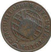 20 Réis - Maria I & Pedro III (Countermarked 10 Réis) – reverse