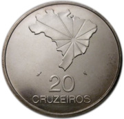 20 Cruzeiros (150th Anniversary of Independence) – reverse