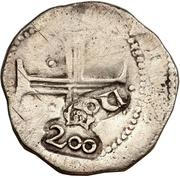 200 Réis - João IV (Countermarked 1 Tostao) – reverse
