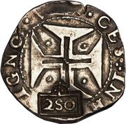 250 Réis - João IV (Countermarked 200 Réis) – reverse