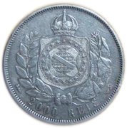 2000 Réis - Pedro II (without phrase) – reverse