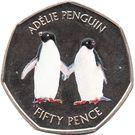 50 Pence - Elizabeth II  (Adélie penguin - coloured) – reverse