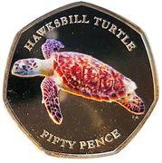 50 Pence - Elizabeth II (Hawksbill Turtle) – reverse