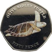 50 Pence - Elizabeth II  (Olive Ridley Turtle) – reverse