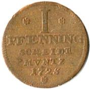 1 Pfenning - George I – reverse