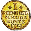 1 Pfenning - George II (Gold pattern strike) – reverse