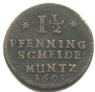 1½ Pfennig - Georg II. Wilhelm – reverse