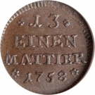 1 Denier / 1/13 Mattier - Karl I – reverse