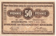 50 Pfennig (Sparkasse) – obverse
