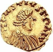1 Tremissis - Gundomar II / In the name of Justin I, 518-527 (Lugdunum/Lyon; with letter to the left) – obverse