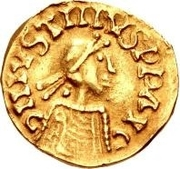 1 Tremissis - Gundomar II / In the name of Justin I, 518-527 (Lugdunum/Lyon; with monogram to the right) -  obverse
