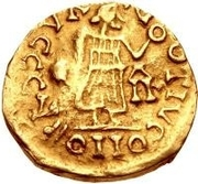 1 Tremissis - Gundomar II / In the name of Justin I, 518-527 (Lugdunum/Lyon; with monogram to the right) -  reverse