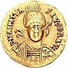 1 Solidus - Gundobad / In the name of Anastasius I, 491-518 (Lugdunum/Lyon; with monogram) – obverse